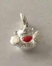 LOVELY SILVER BEAR WITH RED HEART 3D CLIP ON CHARM FOR BRACELET-925 SILVER PLATE