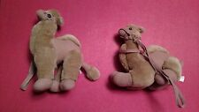 """2 unique plush soft and cuddly Camel - from Israel - 7"""" high 8"""" long"""