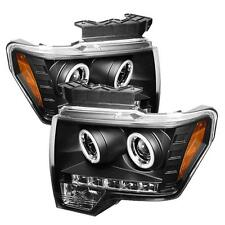 Pair CCFL Halo Projector Head Lights Lamps Ford F150 2009-2012 LED DRL Black