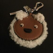 NWT Coach Furry Schering/ Leather Bear Key Ring/ handbag Charm #64749