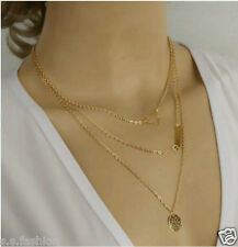 New Design Golden Color Hollow Triangle Metal Bar Coin Multilayer Chain Necklace