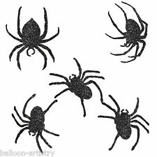 9 Assrtd Halloween Gothic Black Glitter Spiders Party Cutouts Decorations