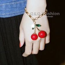 Vintage Red 2 Cherry Gold Chain Emerald Bracelet Bangle Rockabilly Tattoo Pinup