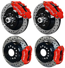 "WILWOOD DISC BRAKE KIT,70-72 CDP B&E-BODY W/DRUMS,13""/12"" DRILLED ROTORS,RED CAL"