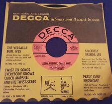 KITTY KALLEN Sweet Kentucky Rose/How Lonely Can I Get 45 PROMO Record Decca