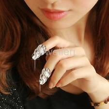 Shiny Crystal Wave Nail Art Knuckle Band Finger Tip Ring Silver Jewelry