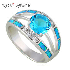 OR835#6 Birthday Gifts Silver Stamped Blue Fire Opal Fashion Blue Zircon Rings