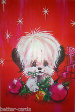 Vintage 1970s Christmas Gift Wrapping Paper ~ Happy Merry Cute Puppy Dog Baubles