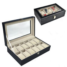 12 space Faux Leather Watch Show Case Organiser Storage Display Box Clear top