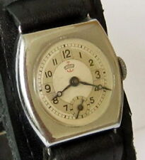 "ART DECO NOS WWII ERA RARE SMALL MILITARY GERMAN MEN'S MECHANICAL WATCH""THIEL#2A"