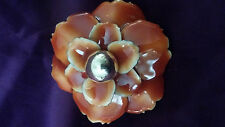 Rust Colored Enamel & Metal Flower Ring with Center Metal Ball Adjustable