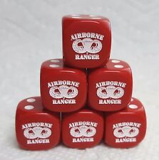 DICE-16mm *6* AIRBORNE RANGER ON OP RED w/WHITE PIPS & INSIGNIA - CLOSE OUT SALE