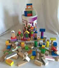 Eichhorrn Wooden Color Blocks 2228 100 Piece Complete Set in Shape Sorter Bucket
