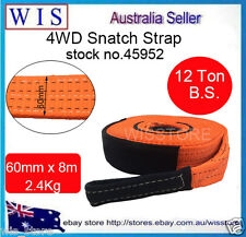 60mm x 8M,12T Snatch Strap Winch Extension 4WD Recovery Tow Strap Orange-45952