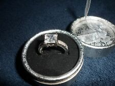Simulated White Diamond (Square} Solitaire Ring In Stainless Steel Size 9