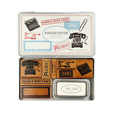Cavallini VINTAGE OFFICE Assorted Wooden Rubber Stamps with Black Ink Pad in Tin