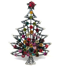 RUCINNI X'mas Tree Brooch, Antique Silver plated and Swarovski Crystals