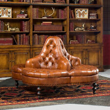 Elegant Library Lobby Tufted Brown Italian Leather Round Sofa 57'' x 39''H.