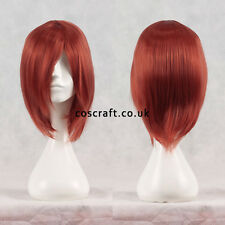 Breve Medium Dritta Layered Cosplay Parrucca in tenui ROSSO, UK Venditore, LILY stile