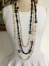 NIB $3675 CHANEL BLACK WHITE 3 STRAND SUPER LONG CHAIN PEARL NECKLACE 8 CC LOGOS