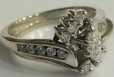 Zales 1/2CT Marquise Cut Diamond Engagement Wedding Ring Set 14K White Gold 5.25