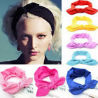 Women Girl Elastic Stretch Plain Rabbit Bow Hair Band Headband Turban Head Scarf
