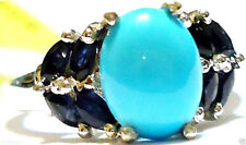 SLEEPING BEAUTY TURQUOISE & BLUE SAPPHIRE MARQUISE RING, SILVER, SIZE 6, 2.50TCW