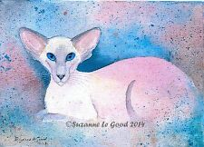 LTD EDITION AQUAMARINE SIAMESE CAT PAINTING PRINT FROM ORIGINAL SUZANNE LE GOOD