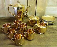 Kitsch Vintage Genuine Samurai Gold Coloured China 6 Cup Coffee Set -Reg 9539405