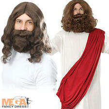Jesus + Wig + Beard Religious Men's Fancy Dress Christmas Adult Costume Outfit