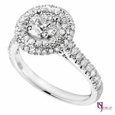 1.10 Cart Double Halo Set Round Cut Diamond Engagement Ring 14k White Gold F/SI1