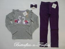 New NWT Gymboree PRIMA BALLERINA 3pc Outfit Set Swan Top Pants Hair Bow Girls 5T