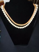 HIGH QUALITY GOLD MESH AND FAUX PEARL ADJUSTABLE NECKLACE, UNSIGNED, FLAWLESS!