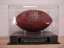 FOOTBALL DISPLAY CASE WITH A NEW ENGLAND PATRIOTS SUPER BOWL 49 CHAMPS NAMEPLATE