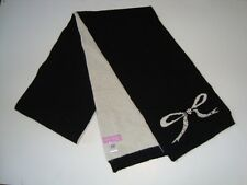 Alice Hannah Lambswool Black & Cream Pearl & Diamond Bow Scarf (507)