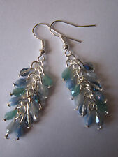 Drop / Dangle Earrings - Shades of Blue Crystal Cluster - Silver Plated