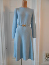 Vintage St John Knit 1970's Light Blue Flirty Skirt Dress Sz. L Excellent