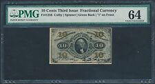 "Fr1256 10¢ 3Rd Issue Fractional Currency Green Back ""1"" Front Pmg 64 Cu Bt3360"