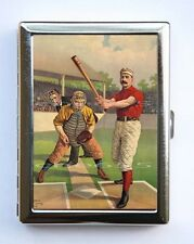 Vintage Baseball Batter illustration Cigarette Case Wallet Business Card Holder