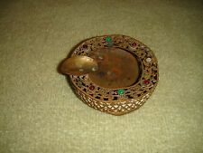 Antique French Victorian Art Deco Compact Ashtray-Red & Green Stones-Floral