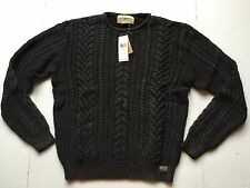 Ralph Lauren Denim Supply Washed Black Cable Knit Cotton Sweater Cardigan-MEN-XL