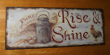 RISE & SHINE Cream Dairy Milk Can Rooster Chicken Kitchen Home Decor Sign NEW