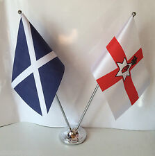 Scotland & Northern Ireland Flags Chrome and Satin Table Desk Flag Set