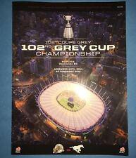 Rare CFL Football 102 Grey Cup Vancouver 2014 Program Calgary Vs. Hamilton