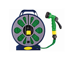 50FT 15M FLAT GARDEN HOSE PIPE REEL INC SPRAY NOZZLE GUN GARDEN OUTDOOR WATERING
