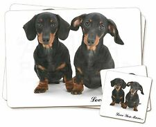 Dachshund Dogs 'Love You Mum' Twin 2x Placemats+2x Coasters Set in , AD-DU2lymPC