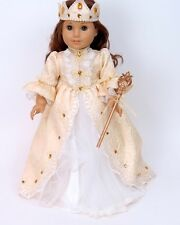 """Doll Clothes AG 18"""" Dress White Gold Queen Made To Fit American Girl Dolls"""