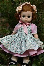 VINTAGE MADAME ALEXANDER DOLL ALEXANDERKINS WENDY TAGGED DRESS PINAFORE HAT