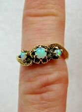 Antique Victorian Solid Gold Baby Pinky 3 Stone Opal Belcher Mount Ring