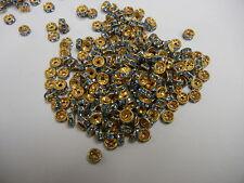 36 swarovski xilion rhinestone rondelles,6mm aqua / unplated brass